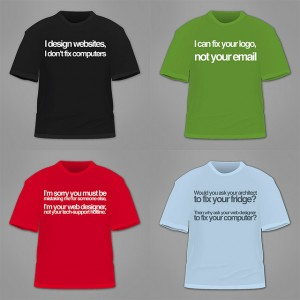 Web Developer snarky tshirts.