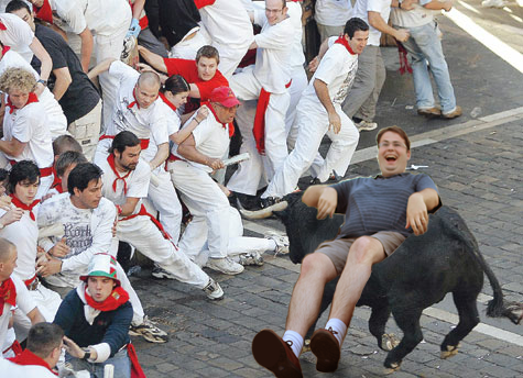 Tim Owens at the Running of the Bulls, Pamplona, Spain